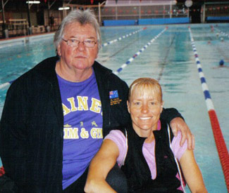 World & Olympic Champion Michellie Jones with her coach Dick Caine