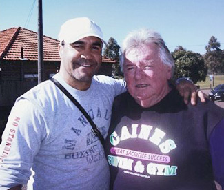 Jeff Fenech, Triple World Champion, with Dick Caine