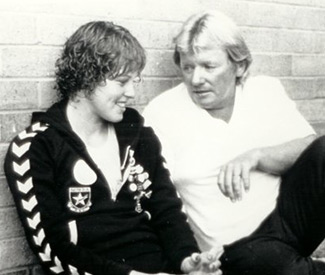 Karen Phillips Olympic Silver & Commonwealth Gold Medalist with her coach Dick Caine