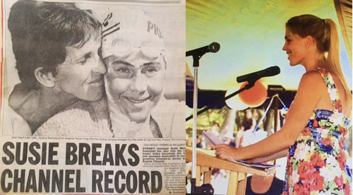 Newspaper article of Susie Maroney breaking English Channel swim record and Susie giving a speech as Australia Day Ambassador