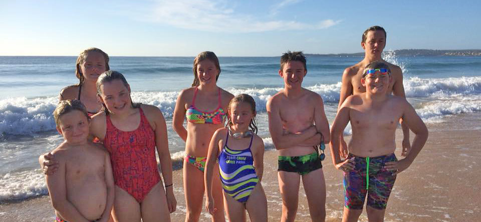 Bathurst swim team training at Wanda beach with Dick Caine