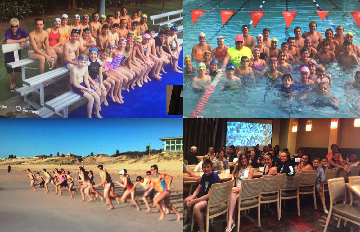 4 image collage of children involved in swim and surf lifesaving sports