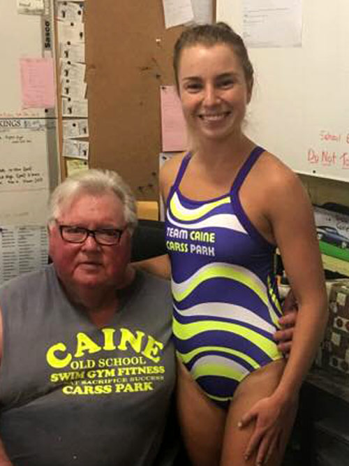 Davina modelling the new Ladies Team Caine Costume with Dick Caine