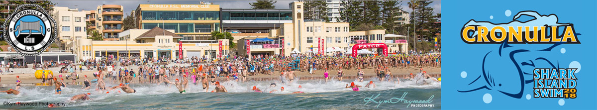Shark Island Swim Race start showing Cronulla beach