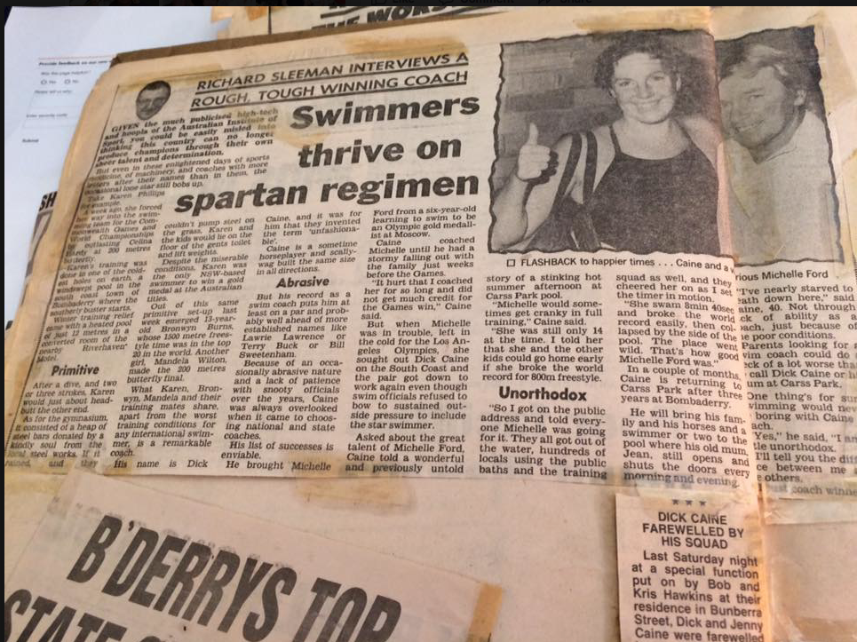 Old newspaper article on Dick Caine's spartan training regimen