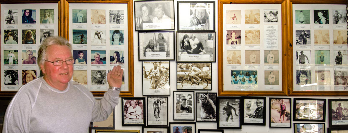 Master Coach Dick Caine showing photos of his 11 World and Olympic champions