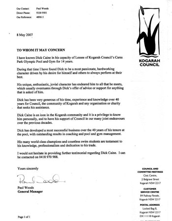 Tribute letter from Paul Wood (Kogarah Council)