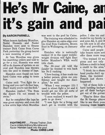 He's Mr Caine and it's Gain and Pain - Newspaper article
