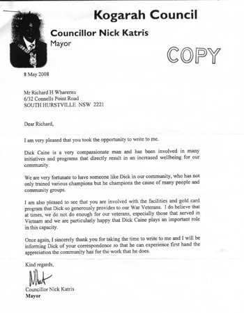 Councillor Nick Katris tributel letter to Dick Caine
