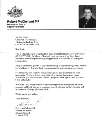 Tribute  letter from Robert McLelland MP