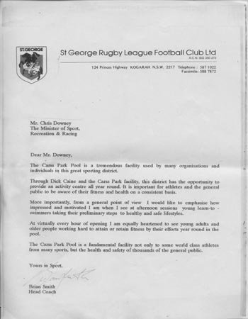 St George Rugby League Football Club tribute letter to Dick and Jenny Caine